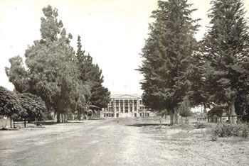 First Chino High School building at head of Sixth Street.