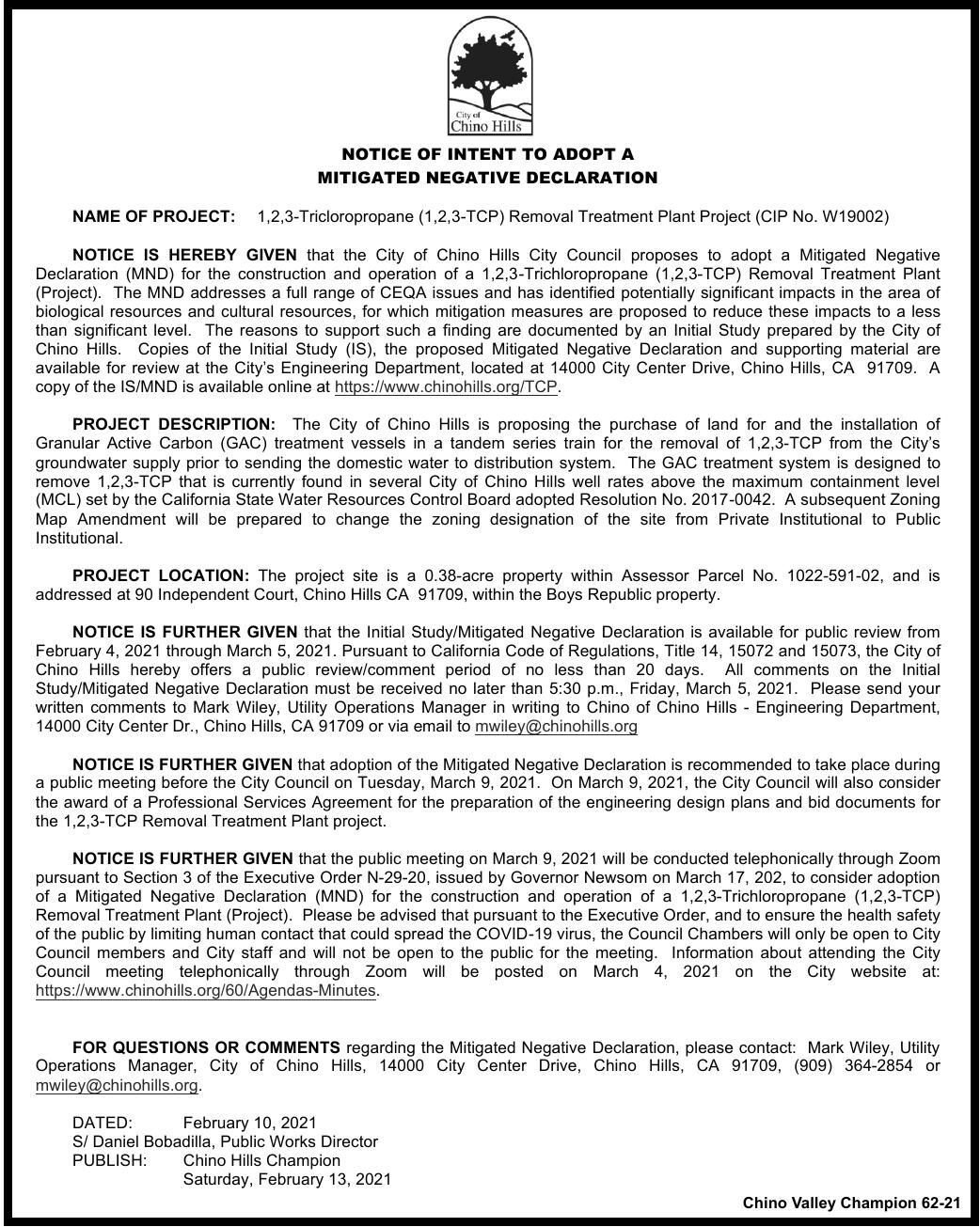CITY OF CHINO HILLS -   NOTICE OF INTENT TO ADOPT A  MITIGATED NEGATIVE DECLARATION