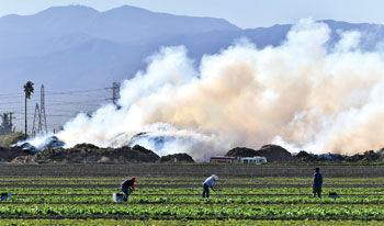 Heavy smoke billowed into Chino and Chino Hills neighborhoods