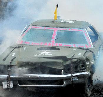 A damaged derby car