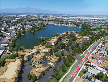 A concept site plan has been submitted to the City of Chino Hills showing the lakefront apartments proposed near Lake Los Serranos mobile home park, 15111 Pipeline Ave. The project site is owned by the Greening family, which also owns the mobile home park.