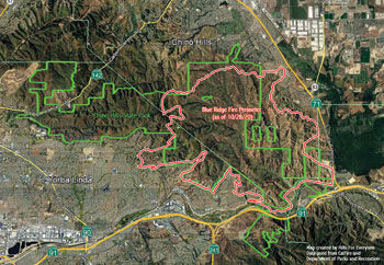 More than half of Chino Hills State Park burned