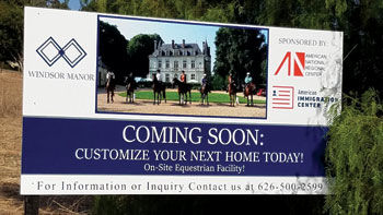 A sign for an equestrian residential facility