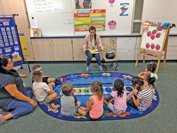 Katie Rohde leads circle time in a P.R.E.P. preschool