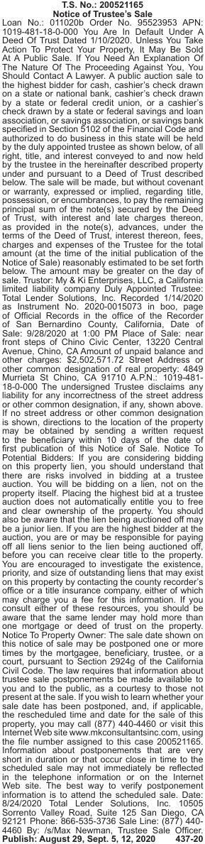 MK CONSULTANTS, INC. - Notice of Trustee's Sale