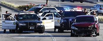 Los Angeles Sheriff's Department deputies converge