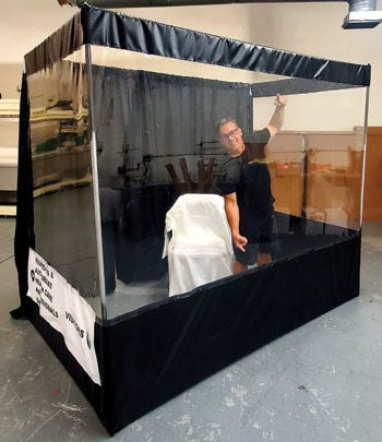 """Tim Ward demonstrates """"Clear Curtain Booth"""""""
