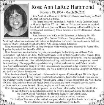 Rose Ann LaRue Hammond