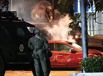 Deputies deploy tear gas