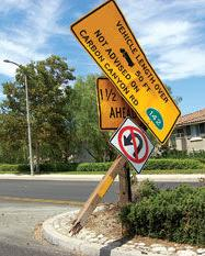 Broken truck advisory sign