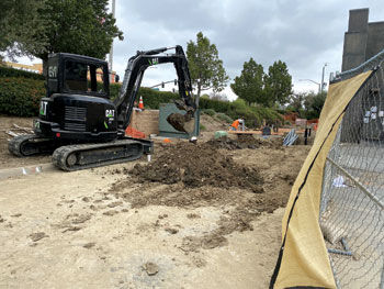 Crews are in the underground phase of construction for the Tesla supercharger station.