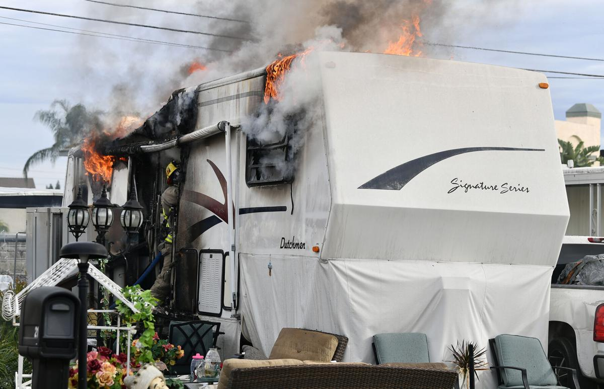 30-foot long trailer at mobile home park in Chino destroyed by fire Monday afternoon