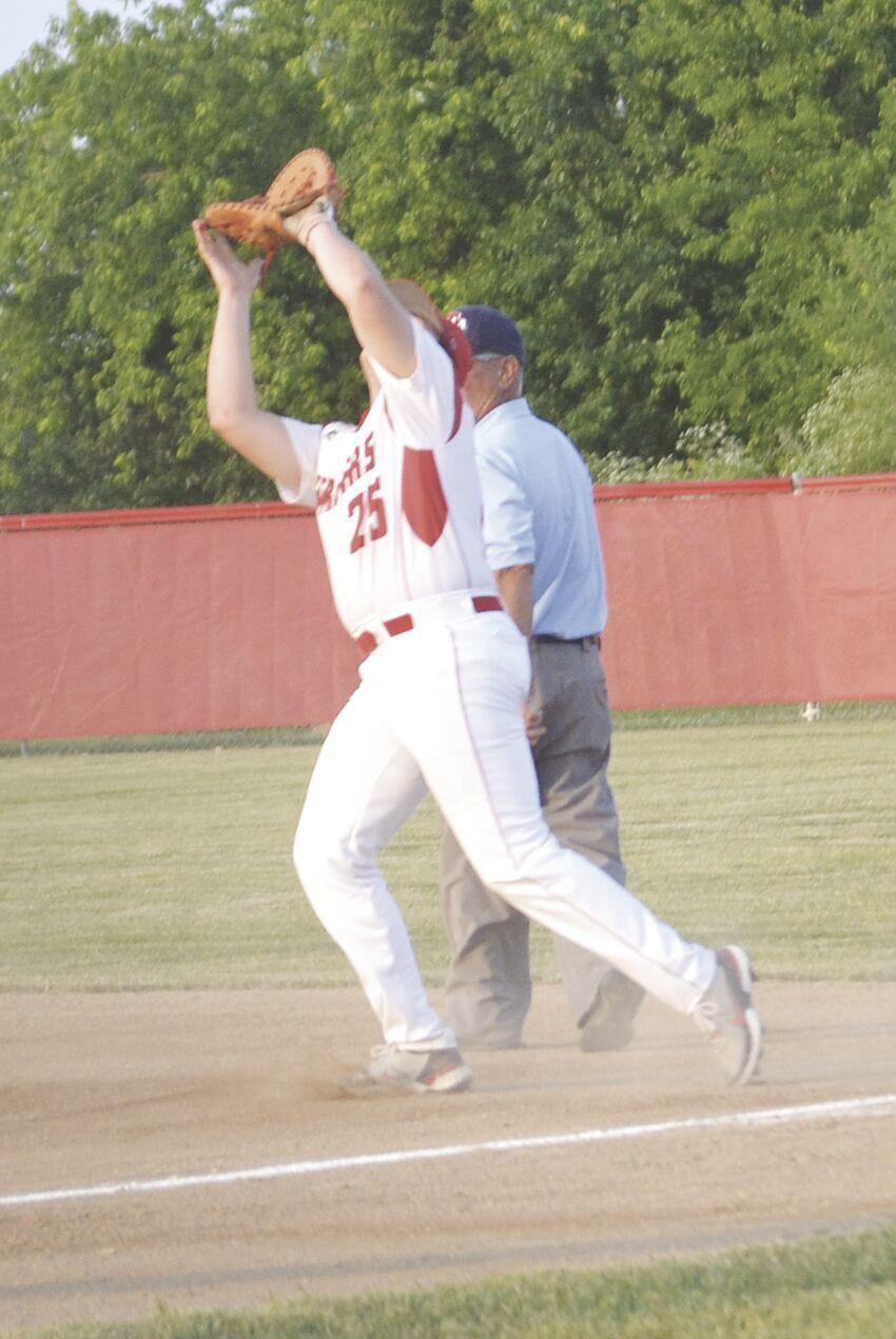 First baseman Preston Lane catching ball for out.tif
