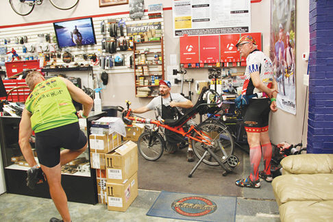 Josh Hendricks of Connecticut Yankee Pedaller fixes bikes for RAGBRAI riders