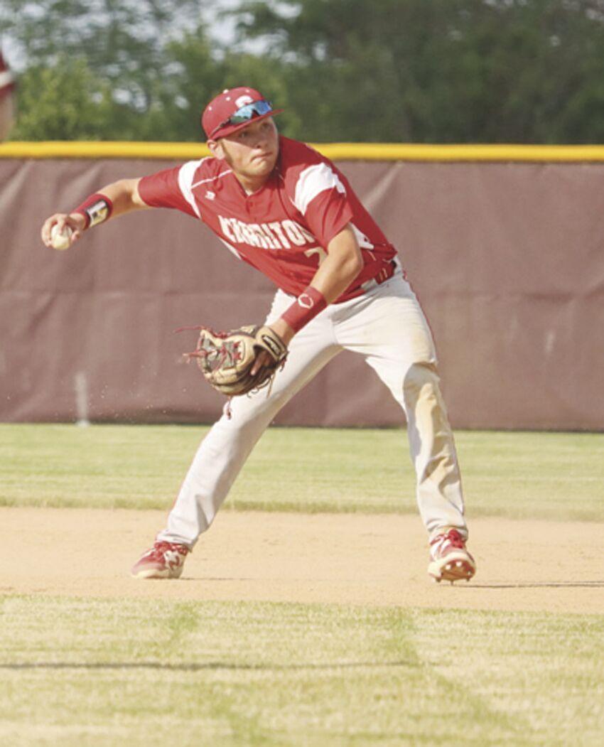 Kaden Fitzgerald throwing it to first base.tif