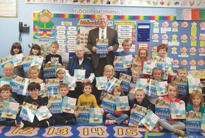 Adam Bahr and Mary Stierwalt with kindergarten class