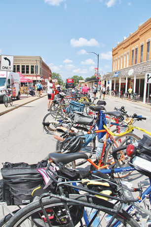RAGBRAI riders' bikes lined up in the square