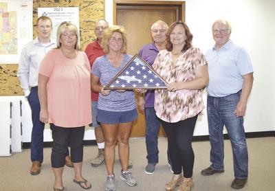 City Council presenting flag to Halferty family.tif