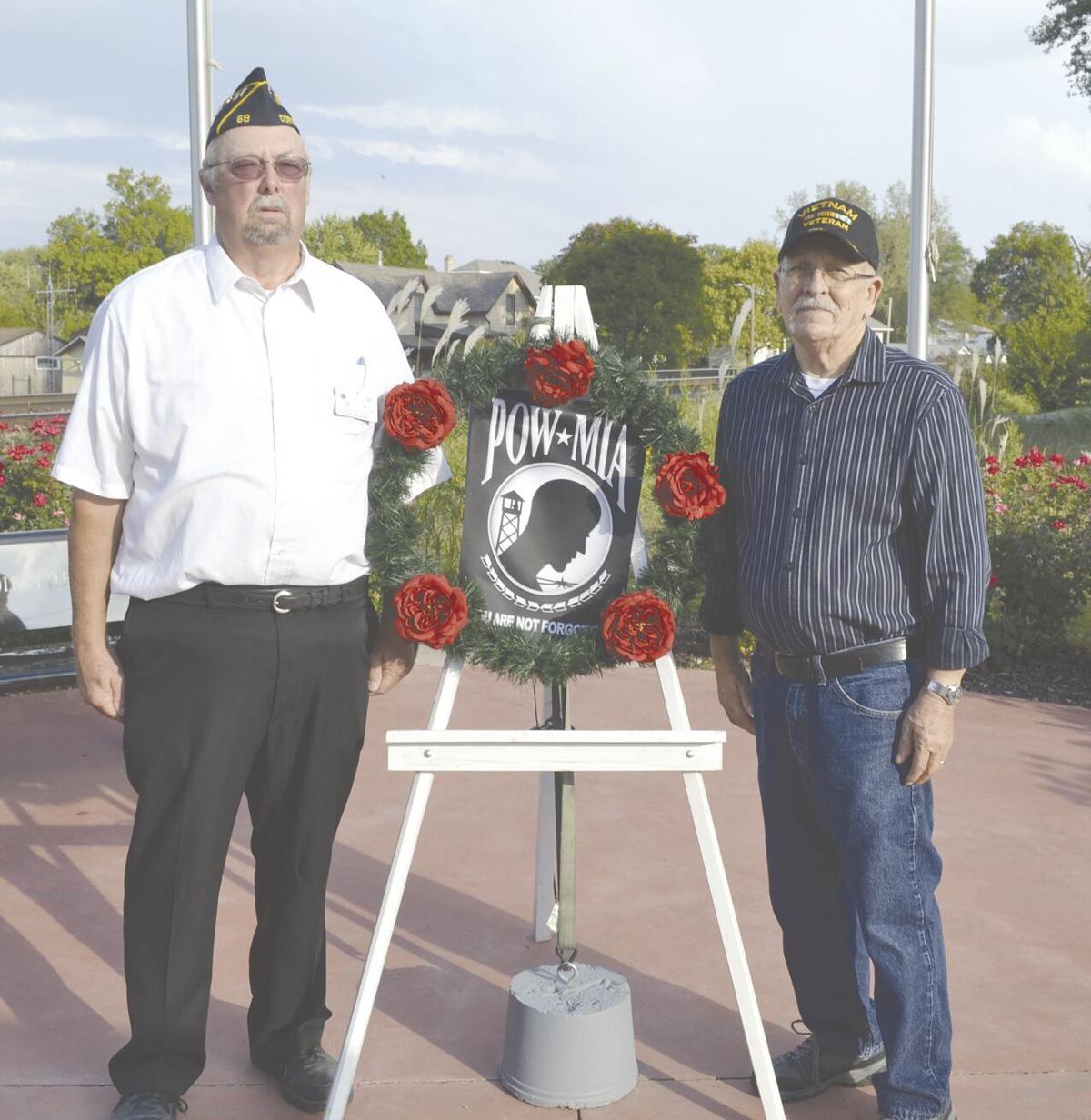 wreath laid at POW MIA Memorial in Veterans Park.tif