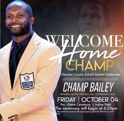 Hall of Famer Champ Bailey to be recognized October 4