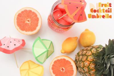 DIY Fruit Cocktail Umbrella