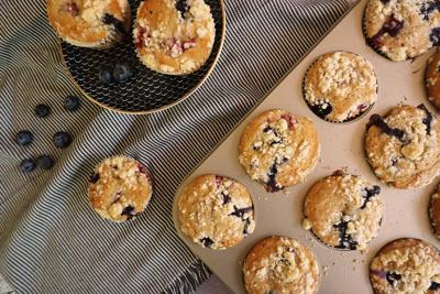 Blueberry & Raspberry Muffins with Streusel