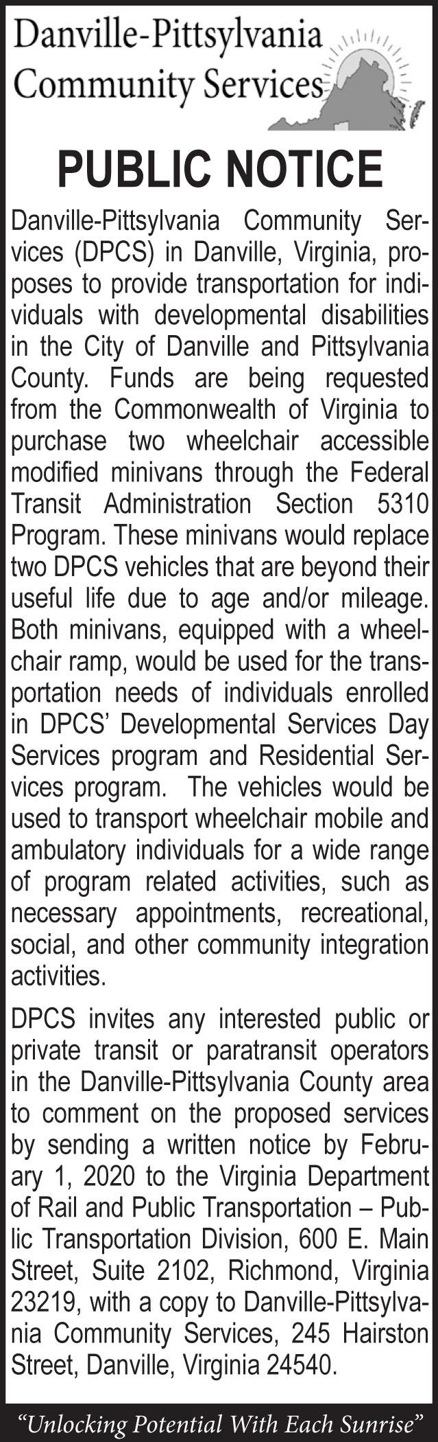 Danville-Pittsylvania Community Services Public Notice