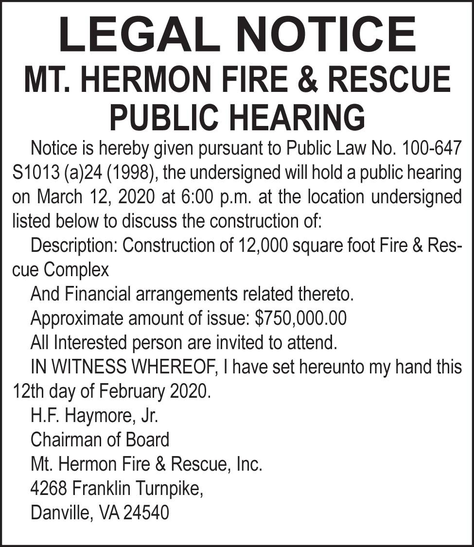 Mt. Hermon Fire and Rescue Public Hearing