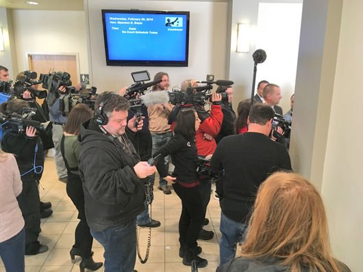 Reporters at court hearing