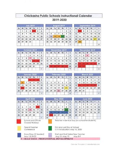 Chickasha Public Schools 2019-2020 Instructional Calendar
