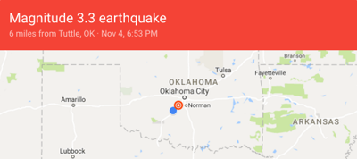 Earthquake near Tuttle reported by USGS