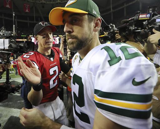 Matt Ryan, Aaron Rodgers after NFC championship, AP photo