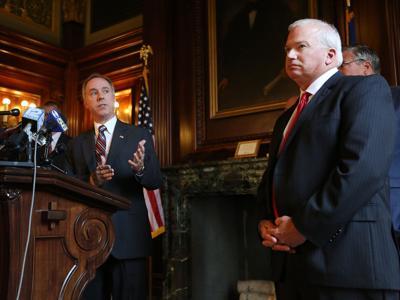 Robin Vos, Scott Fitzgerald, state budget presser 7-1-15, State Journal photo