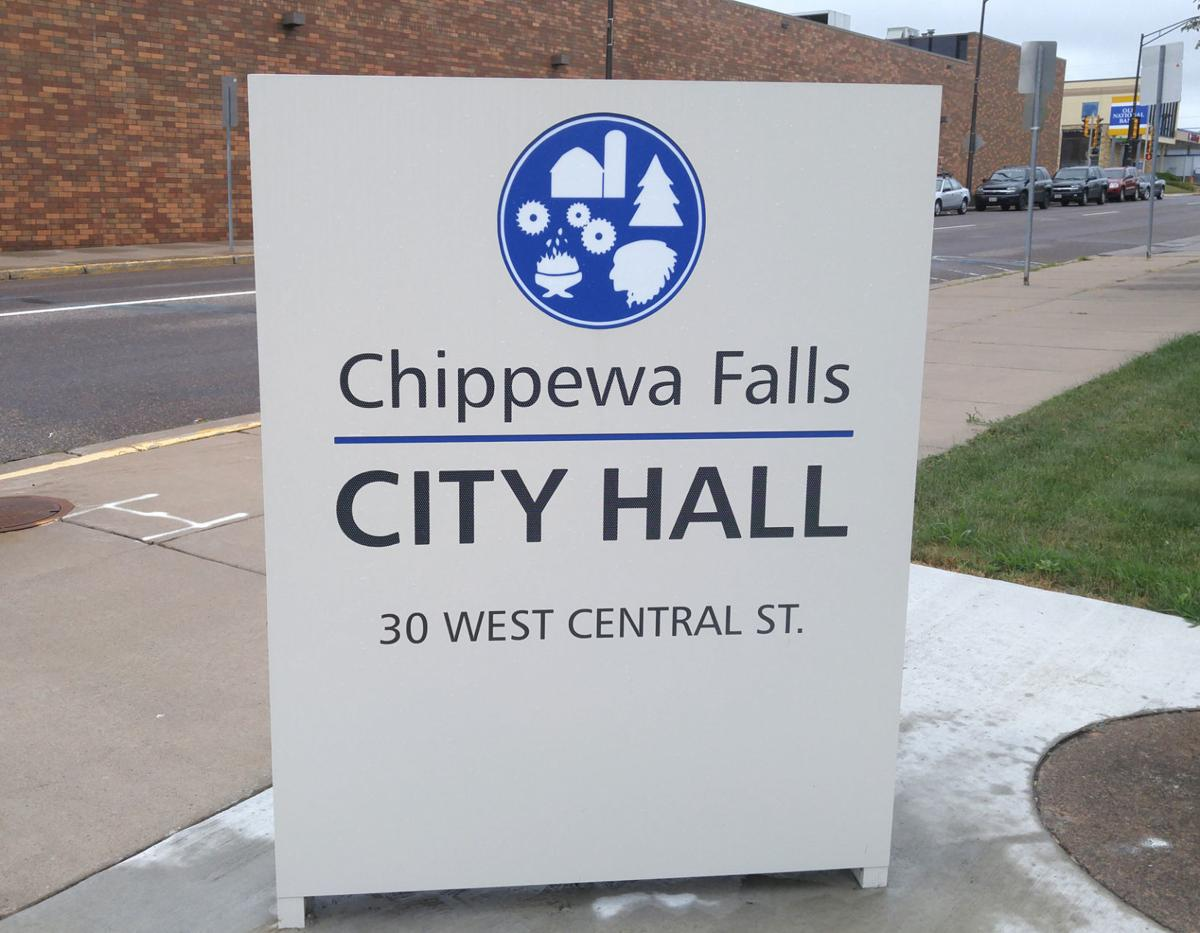 Chippewa Falls City Hall sign - Summer