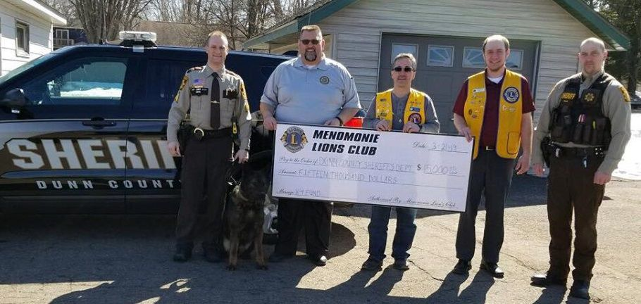 Lions club presents check to Dunn County Sheriff's Office