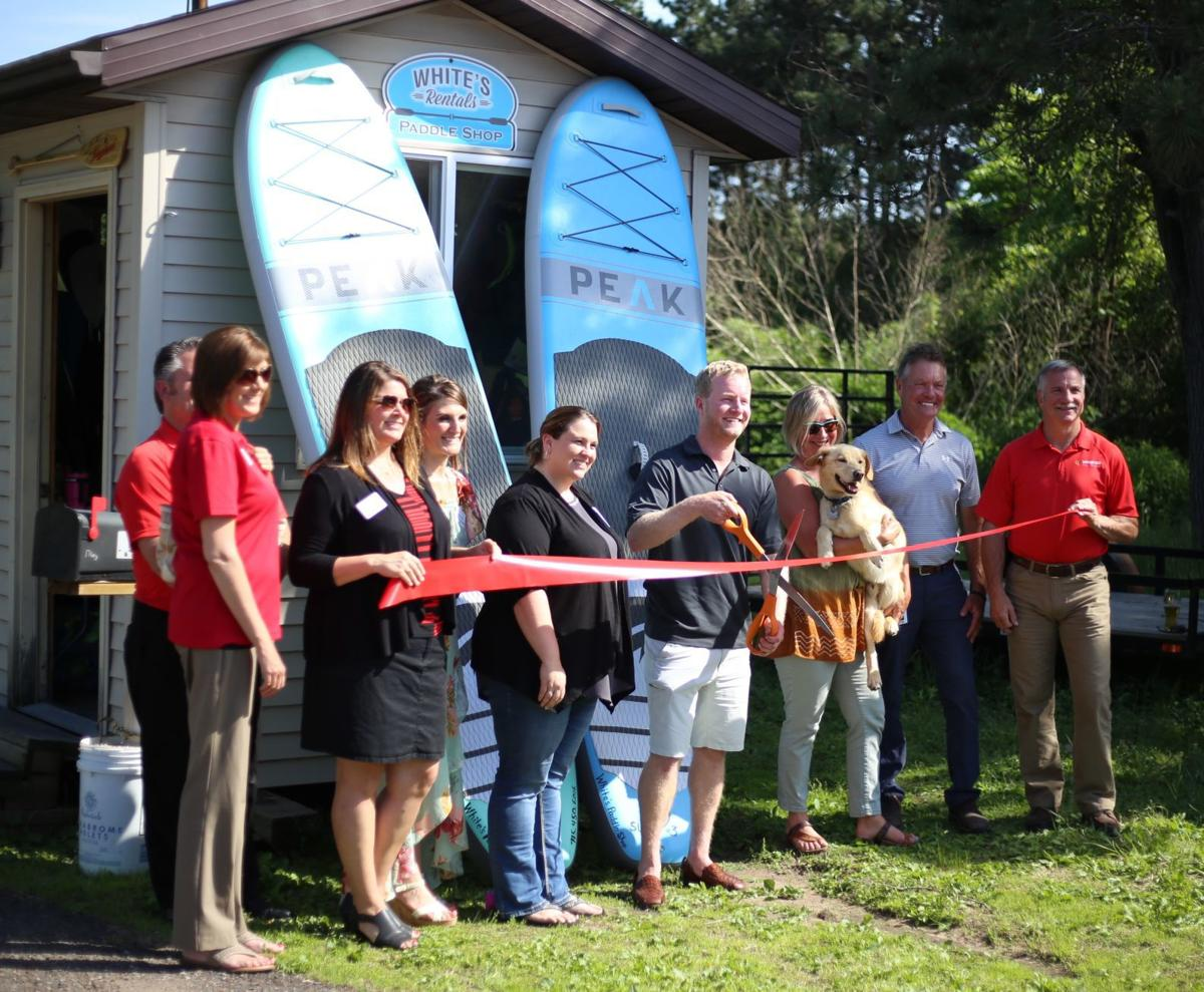 White's Rentals paddle shop ribbon cutting