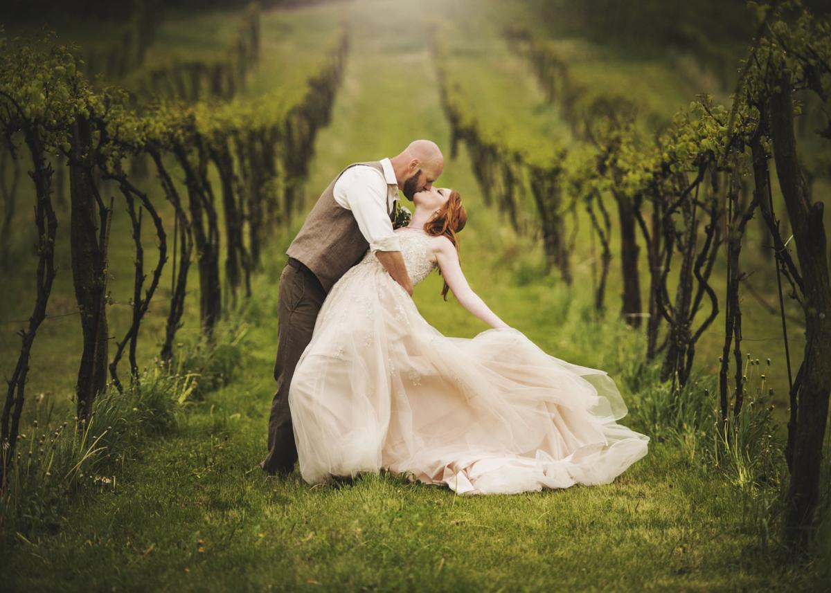 Cottage Winery Bride gown in vineyard