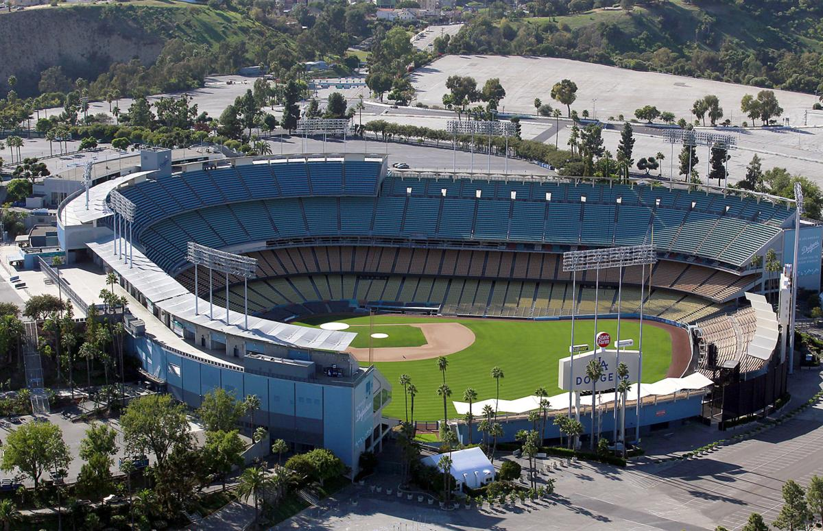An aerial view of Dodger Stadium in Los Angeles in November 2011.