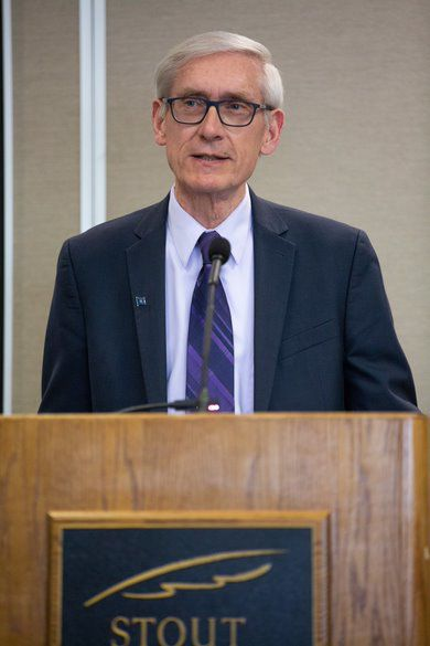 Evers at UW-Stout South Hall renovation