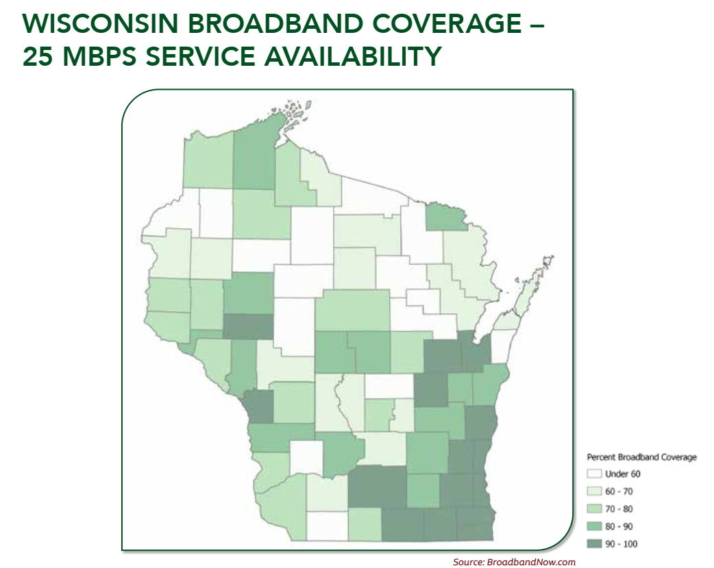 Map of broadband access in Wisconsin
