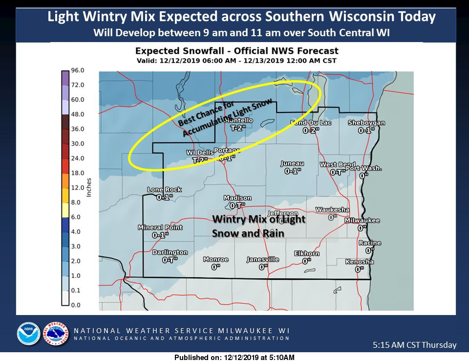 Snowfall forecast for southern Wisconsin by National Weather Service
