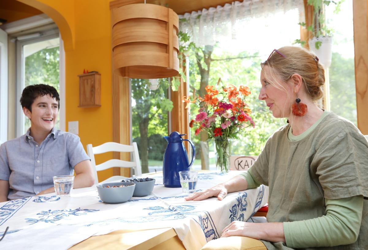 Nina and Ingrid at table