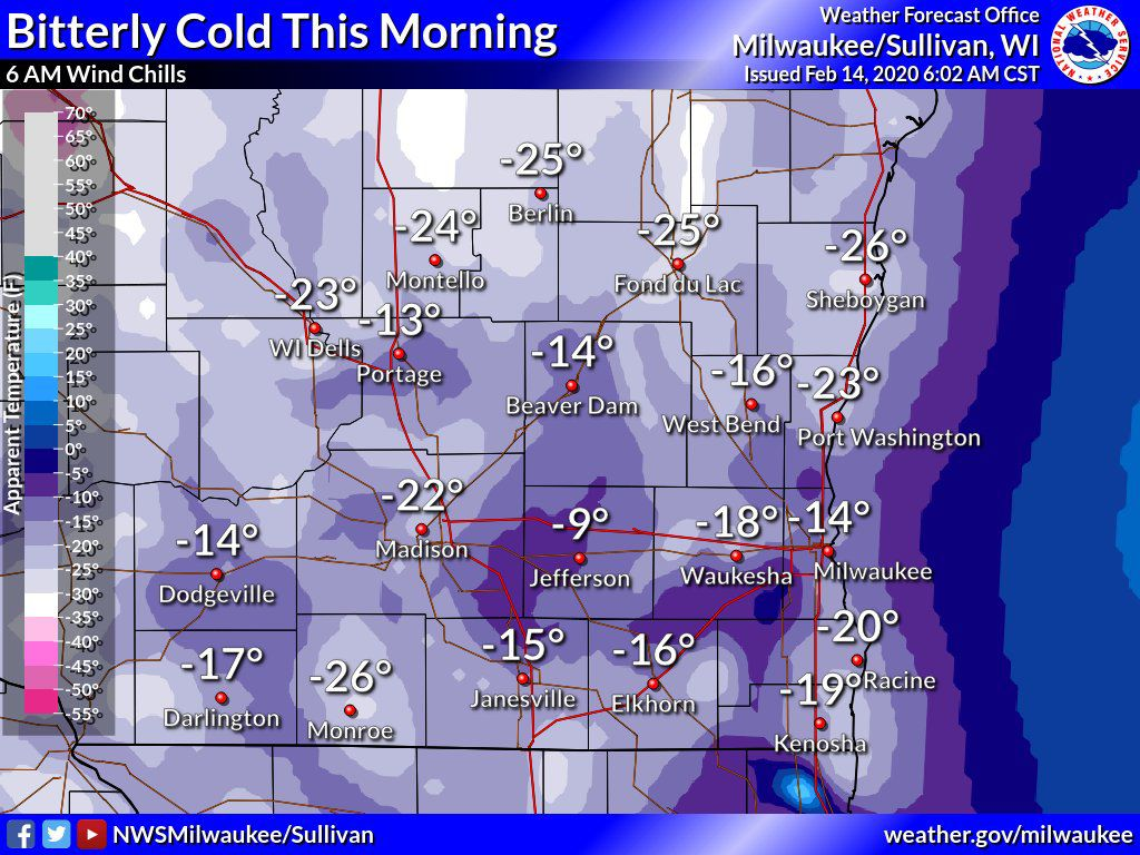 Wind chills 6 a.m. Friday by National Weather Service