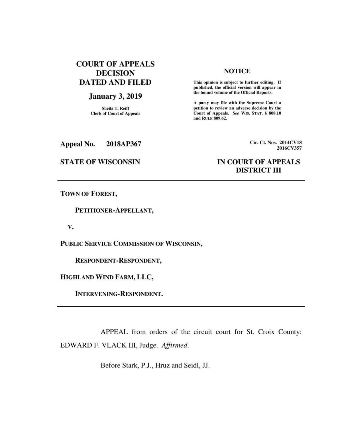 Court of Appeals decision on Town of Forest v. Public Service Commission