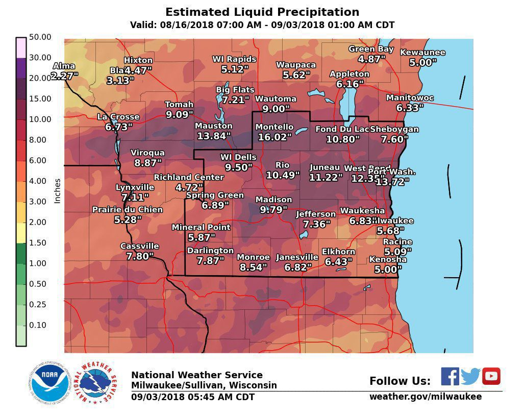 National Weather Service rainfall totals 8-16-18 through 9-2-18