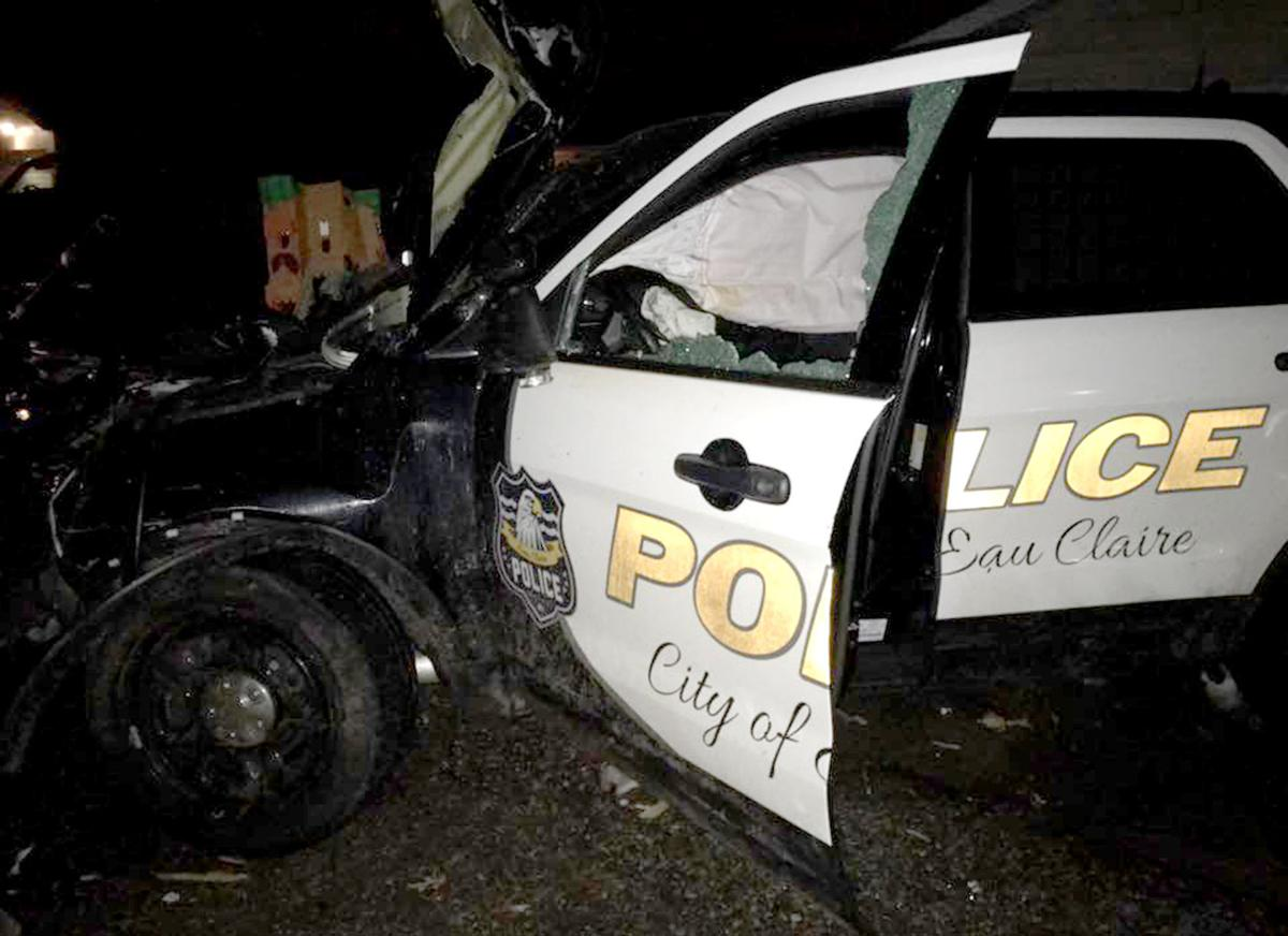 Wrecked squad car