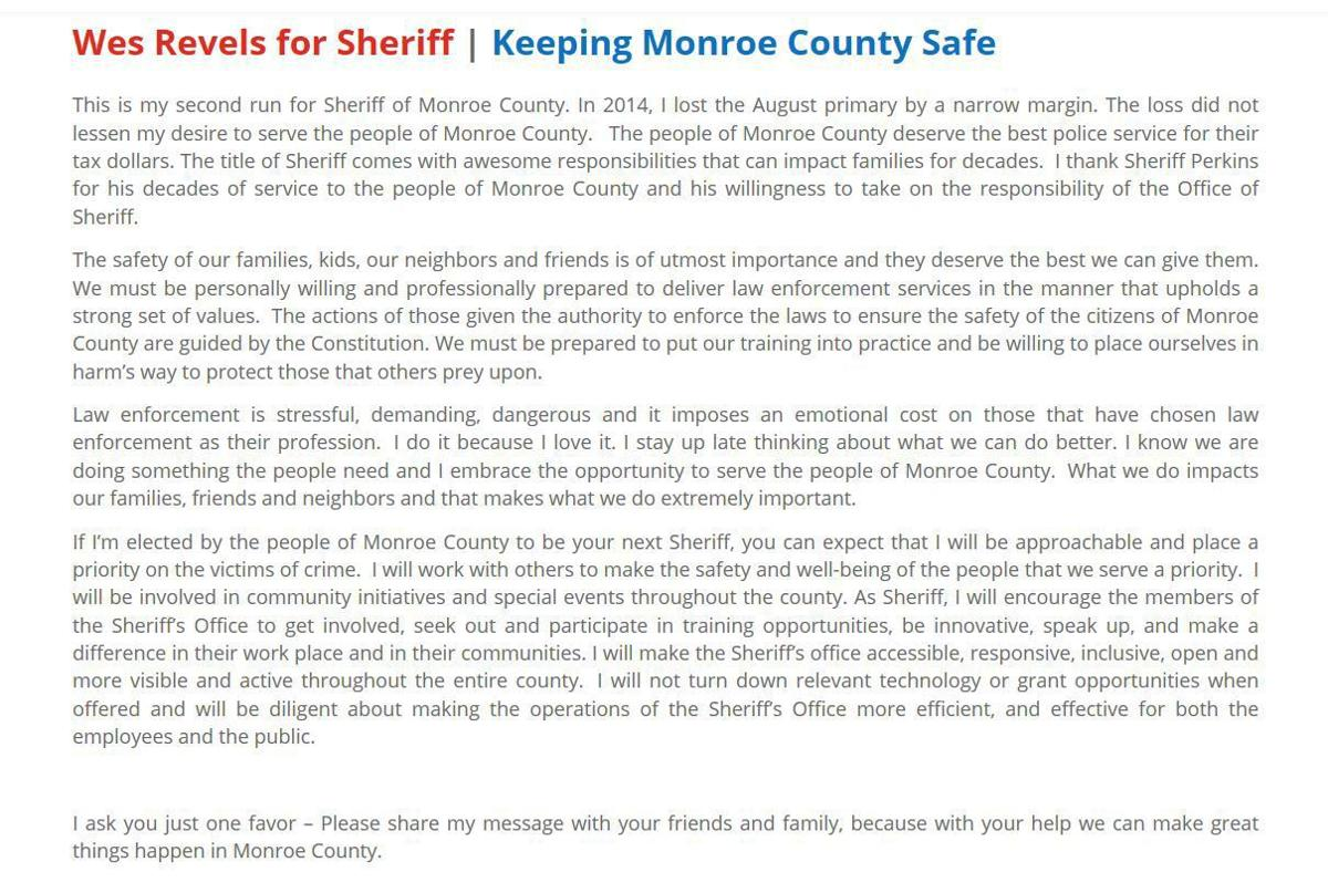 Monroe County sheriff candidate calls plagiarism a 'mistake