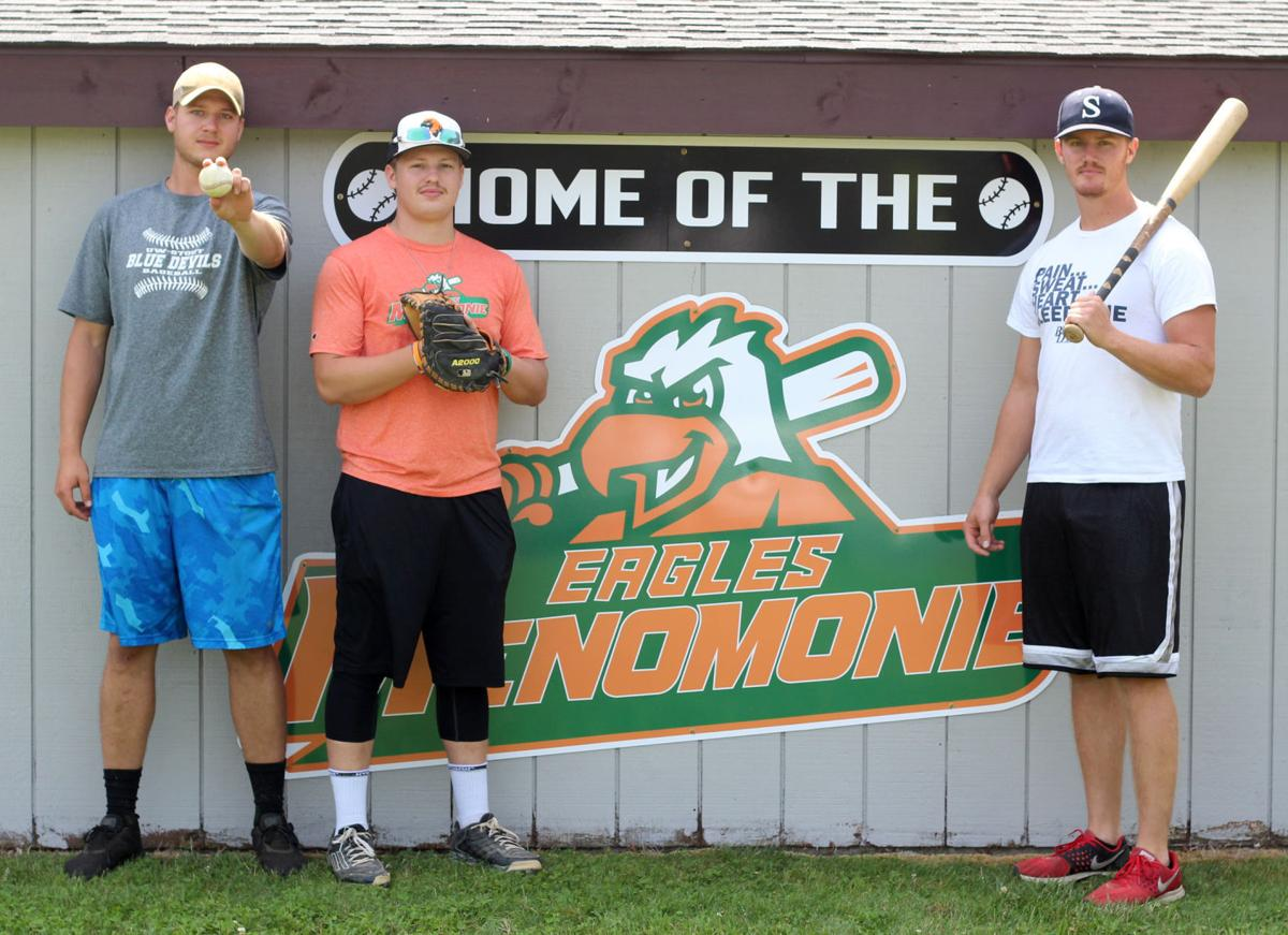 Drew Worth, Mitch Thomas and Wyatt Ernstmeyer Menomonie Eagles baseball