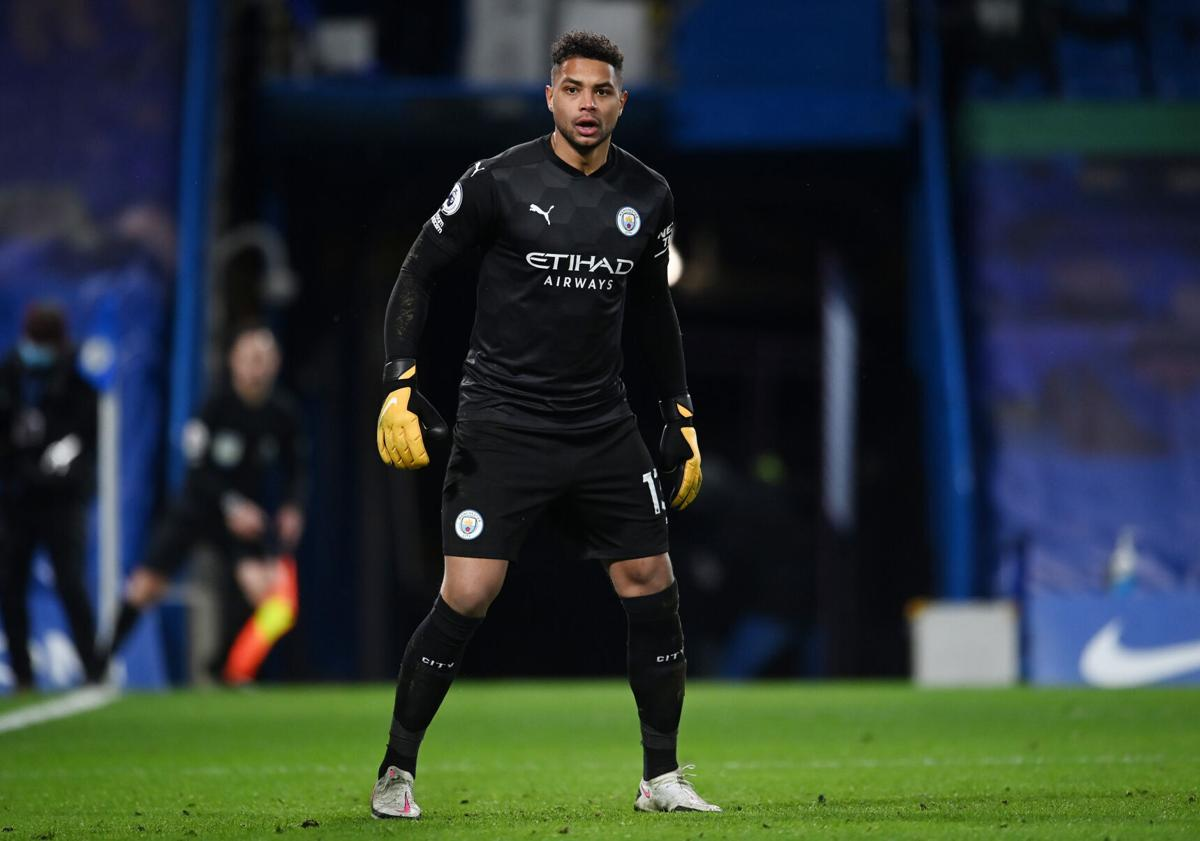 Zack Steffen of Manchester City looks on during the Premier League match against Chelsea at Stamford Bridge on January 3, 2021 in London, England.