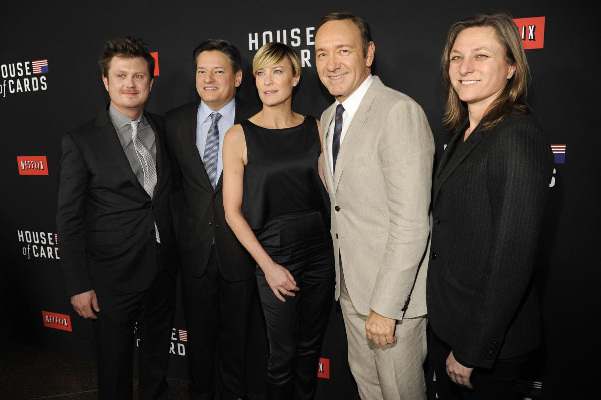 Beau Willimon, Ted Sarandos, Robin Wright, Kevin Spacey, Cindy Holland